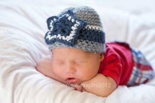 Newborn Baby Boys Girls Star Cowboys Theme Navy Blue Grey White Crochet Hat
