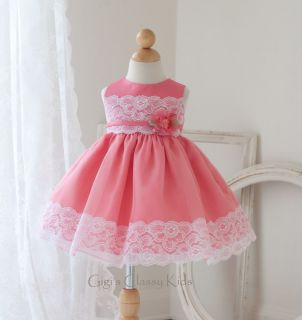 New Baby Flower Girls Coral White Two Tone Dress Easter Party Christmas 812