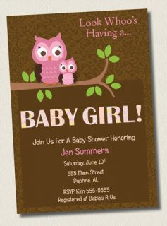 Damask Brown Pink Owl Baby Girl Shower Invitations Birthday Party Invite