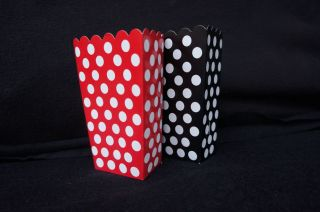 Mickey Minnie Mouse Birthday Party Favor Boxes Goody Polka Dot Red Black