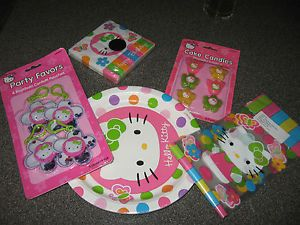 Lot of Hello Kitty Birthday Party Supplies NIP Candles Plates Favors Gift Bag
