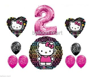 Hello Kitty Set 2nd Birthday Pink Damask Balloons Decorations 2 Two Party Supply