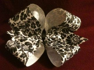 Damask Handmade Baby Infant Toddler Big Girl Jumbo Extra Large Bows Hairbows