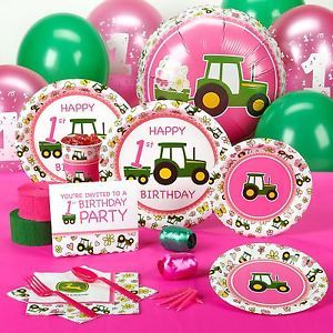 John Deere Tractor Pink First 1st Birthday Party Pack for 8 Party Supplies Set
