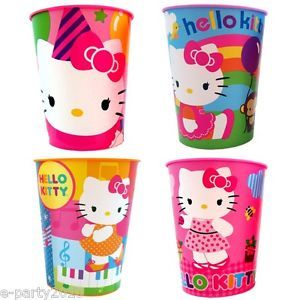4 Hello Kitty Reusable Plastic Keepsake Cups Birthday Party Supplies Favors