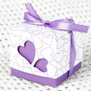 Heart Design Wedding Favor Gift Box with Ribbon Purple