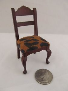 Doll House Furniture Wood Upholstered Leopard Dining Table Chair Miniature Vtg