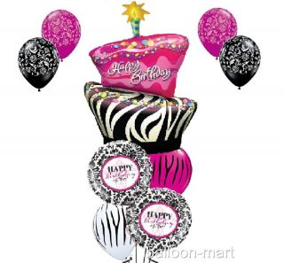 Happy Birthday Zebra Cake Damask Balloons Set Party Supplies Hot Pink Latex Girl
