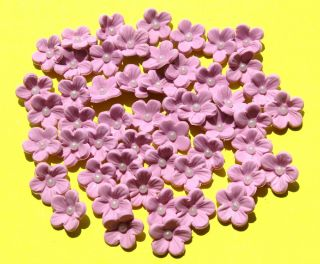 36 Lilac Gum Paste Blossoms Flowers Cup Cake Topper Birthday Shower Wedding