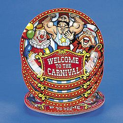 8 Big Top Carnival Theme Dinner Paper Plates Circus Party Set Birthday Supply