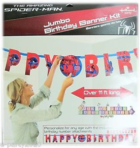 Spider Man Jumbo Letter Banner Kit w Custom Age Happy Birthday Party Supplies