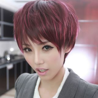 Wine Red Pink Woman Fashion Short Straight Curly Full Wigs Cosplay Party Hair