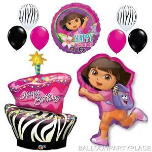Zebra Cake Dora The Explorer Happy Birthday Balloons Set Party Supplies Hot Pink