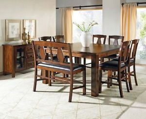New 6 Piece Counter Height Dining Set Table Bench 4 Chairs Cherry Finish