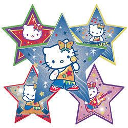 10 Glitter Hello Kitty Stickers Girls Party Treat Loot Bags Favor Supply Sanrio