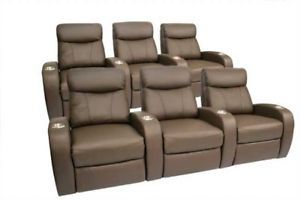 Rialto Home Theater Seating 6 Seat Brown Leather Chairs