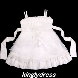 New Flower Girl Pageant Wedding Bridesmaid Party Dancing Dress Ivory Sz 18M R922