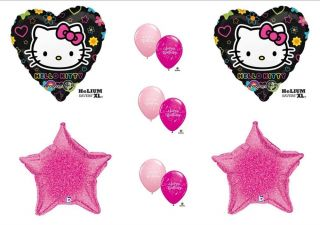 "Hello Kitty Birthday Ballloons Black Pink Decorations Supplies New 17"" Size"