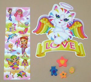 Lisa Frank Lot Fairy Cat Kitten Turtle Golden Retriever Dog Erasers Stickers
