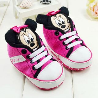 Toddler Baby Girl 3D Minnie Mouse Crib Shoes Sneakers Size12 18 Months