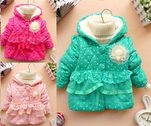 Baby Girls Kids Polka Dot Candy Color Lace Outwear Winter Jacket Coat Clothes