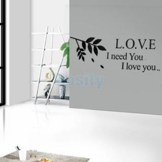 Love I Need You Quote Wall Window Decal Removable Stickers Art Decoration New