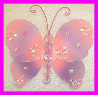 "5"" Pink Purple Butterfly Hanging Girls Baby Toddler Room Decoration Two Tone"