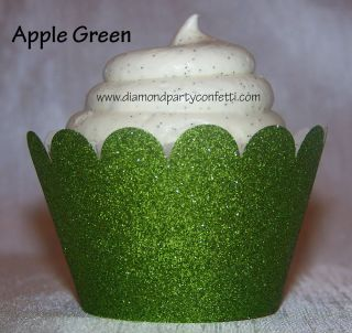 12 Green Glitter Cupcake Wrapper Wedding Christmas Party Decoration Favor