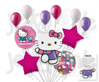 11 PC Lot Summer Time Hello Kitty Balloon Bouquet Decoration Birthday Girl Party