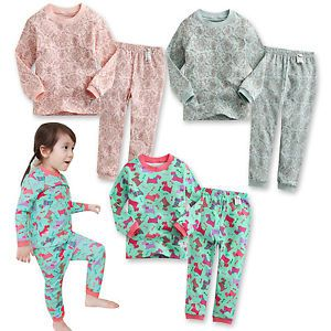 "Korea 2pcs Baby Toddler Kid's Girl Clothes Sleepwear Pajama ""Sweet Girls"""