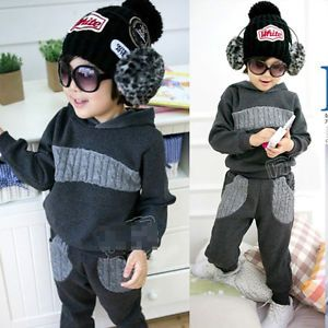 Fashion Korean Baby Kid Boy Outfit Sets Hoodie sweat Suit Pants Comfy Lovely 1AD