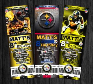 Pittsburgh Steelers NFL Custom Birthday Party Ticket Invitations 10 Designs