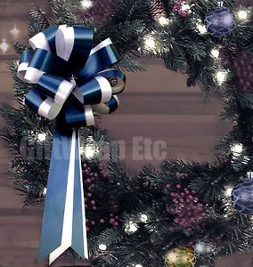 10 Navy Blue White Pull Bows Wedding Pew Chair Christmas Wreath Gift Decorations
