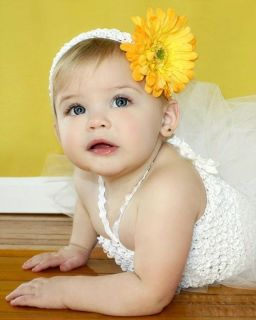 Newborn Baby Girl Infant Yellow Gerbera Daisy Flower Clip White Crochet Headband