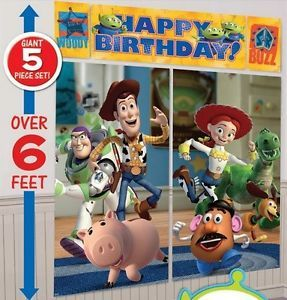 Disney Toy Story 3 Scene Setter Wall Poster Birthday Party Decorating Kit 5 Pcs