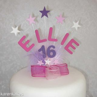 Name Age Birthday Cake Topper with Stars and Feathers 13th 16th 18th 21st Etc