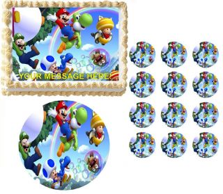 Super Mario Luigi Yoshi Jumping Edible Cake Topper Frosting Sheet All Sizes