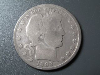 1893 Barber Half Dollar Good Nice Early Date Coin Great Filler for The Album