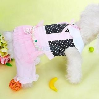 Lace Bowtie Pet Dog Jumpersuit Apparel Clothes w Beads