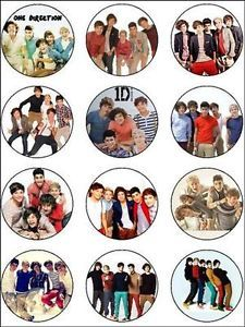 12 One 1 Direction Edible Icing Cupcake Cup Cake Topper Party Decoration Images