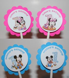 Personalized Baby First Birthday Mickey Minnie Mouse Cupcake Party Toppers