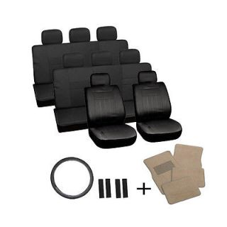25pc Set Solid All Black Van Seat Covers Wheel Belt Pad Head Rest Tan Floor Mat