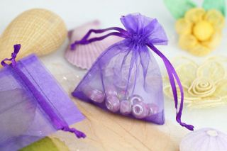 50pcs Purple Organza Wedding Party Jewelry Pouch Favor Gift Candy Bag 3 2x4""