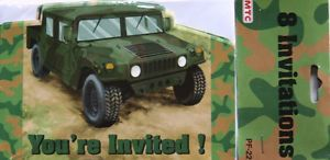 8 Hummer Army Truck Camouflage Invitations Birthday Party Supplies