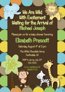 Printable Monkey King of The Jungle Baby Shower Birthday Invitations Boy Neutral