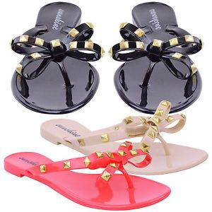 Ladies Womens Summer Beach Stud Bow Thong Flip Flops Jelly Sandals Shoes Size