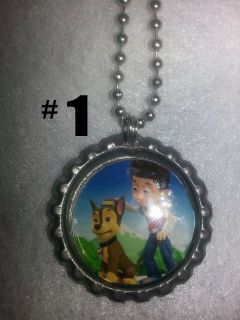 Paw Patrol 1 Bottlecap Necklaces Zipper Pull Backpack Clip Party Favors