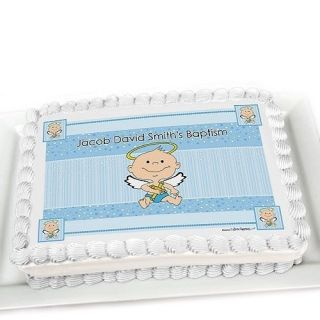 Angel Baby Boy Edible Cake Topper Personalized Baptism Decorations