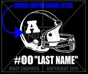 Custom Name Number High School Football Mom Dad Family Vinyl Car Sticker Decal