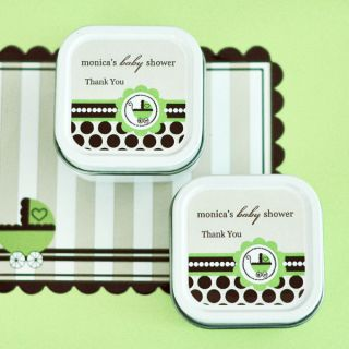 96 Personalized Square Tin Green Unisex Baby Theme Candles Baby Shower Favors